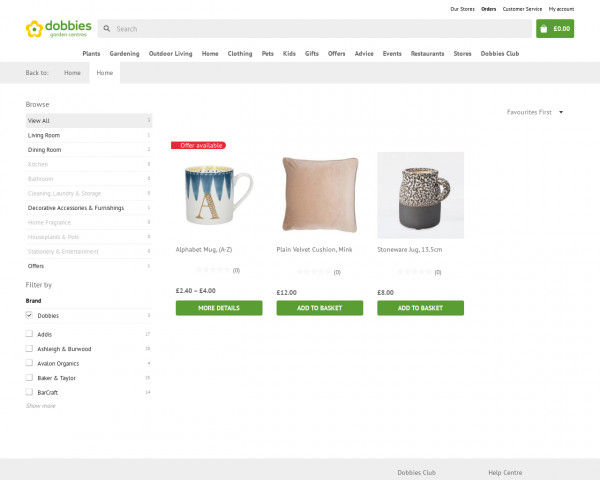 Screenshot of Home products | Dobbies