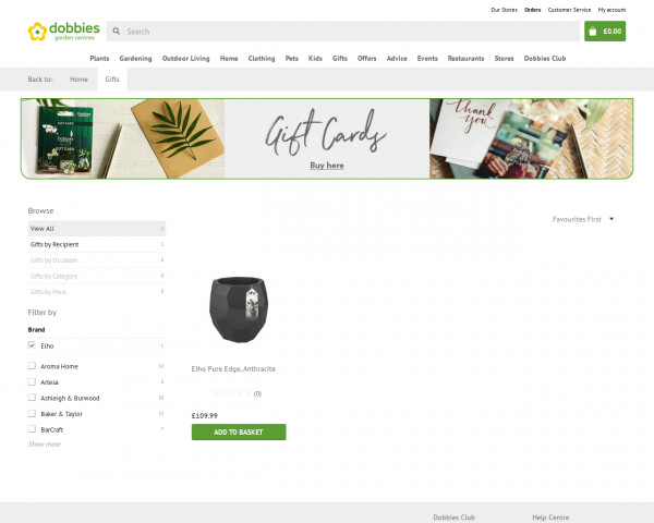 Screenshot of Gifts products | Dobbies