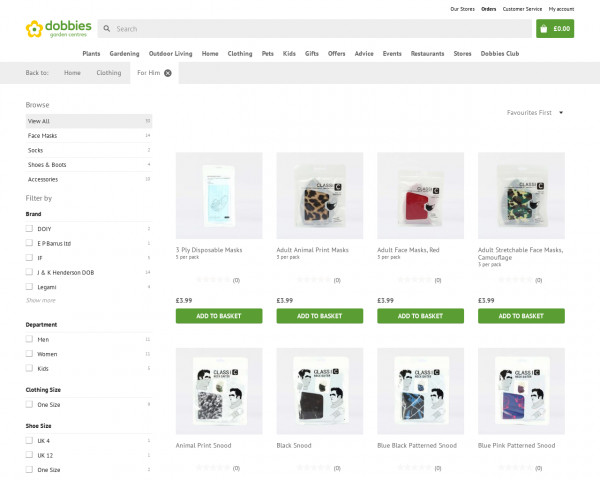 Screenshot of For Him products | Dobbies