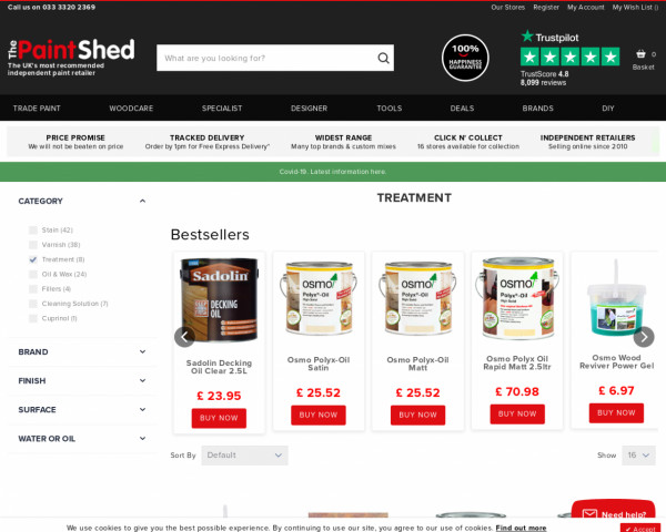 Screenshot of Woodcare Treatments | The Paint Shed