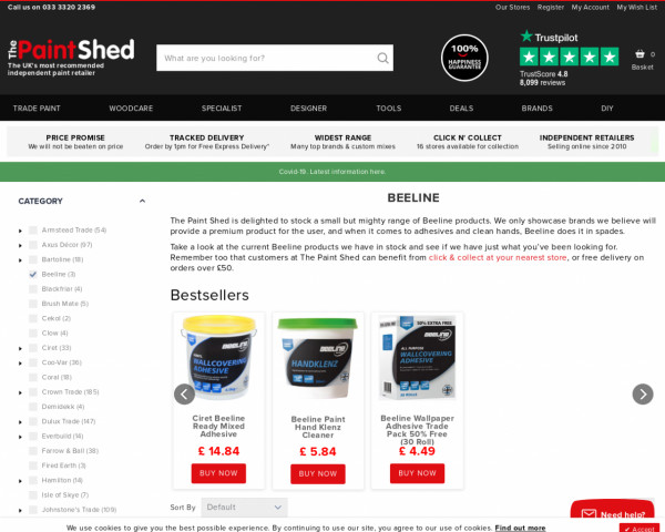 Screenshot of Beeline Adhesive   The Paint Shed