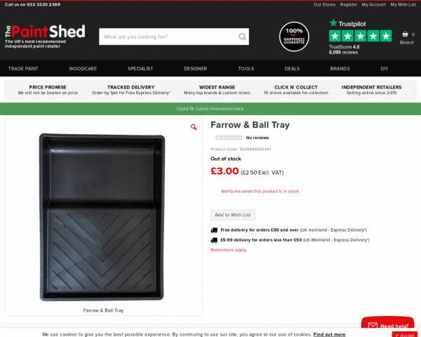 Screenshot of Farrow & Ball Painting Tray   The Paint Shed