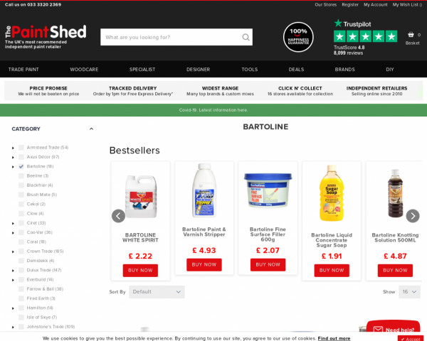 Screenshot of Bartoline Products   The Paint Shed