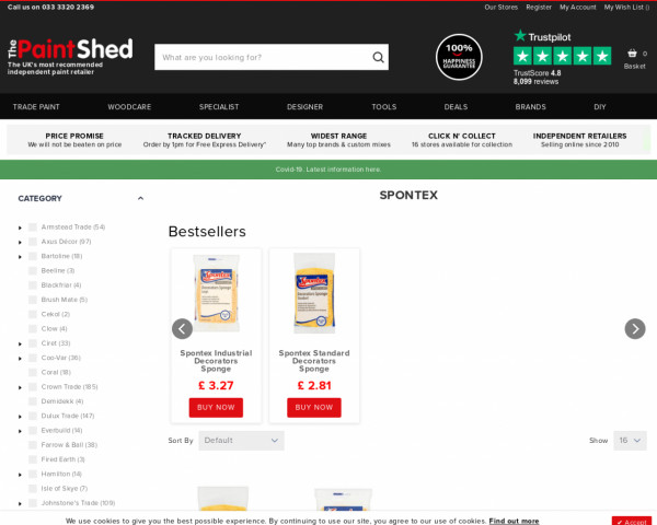 Screenshot of Spontex Painting Supplies   The Paint Shed
