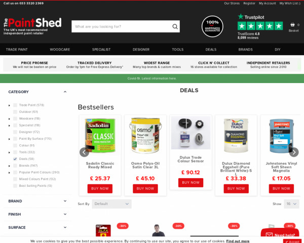Screenshot of Best Deals on Paint Online   The Paint Shed