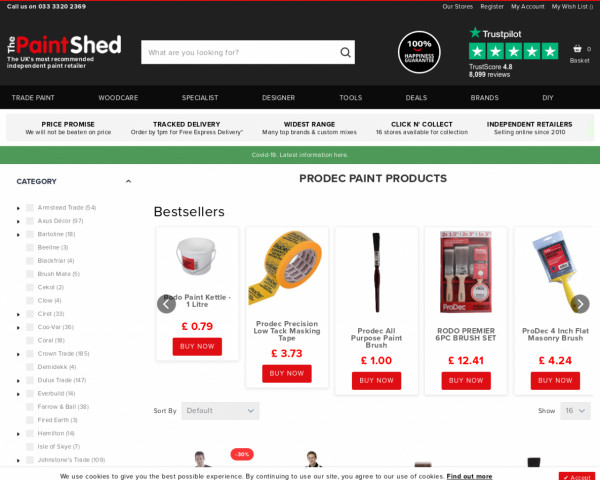 Screenshot of Prodec Painting Supplies   The Paint Shed