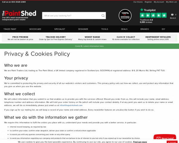 Screenshot of Privacy & Cookies Policy   The Paint Shed