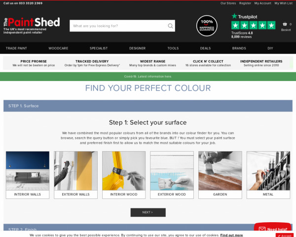 Screenshot of Paint Colour Finder | The Paint Shed