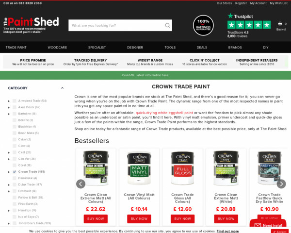 Screenshot of Crown Trade Paint | The Paint Shed