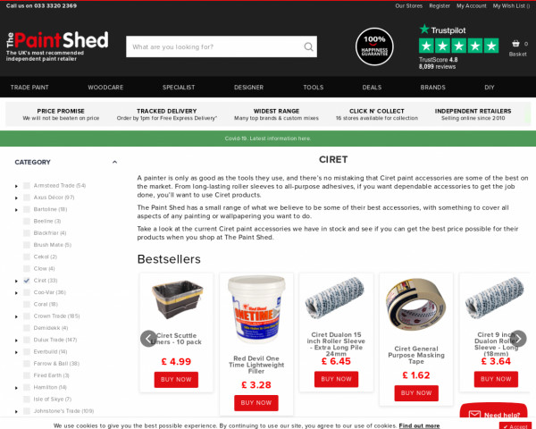 Screenshot of Ciret Painting Supplies   The Paint Shed