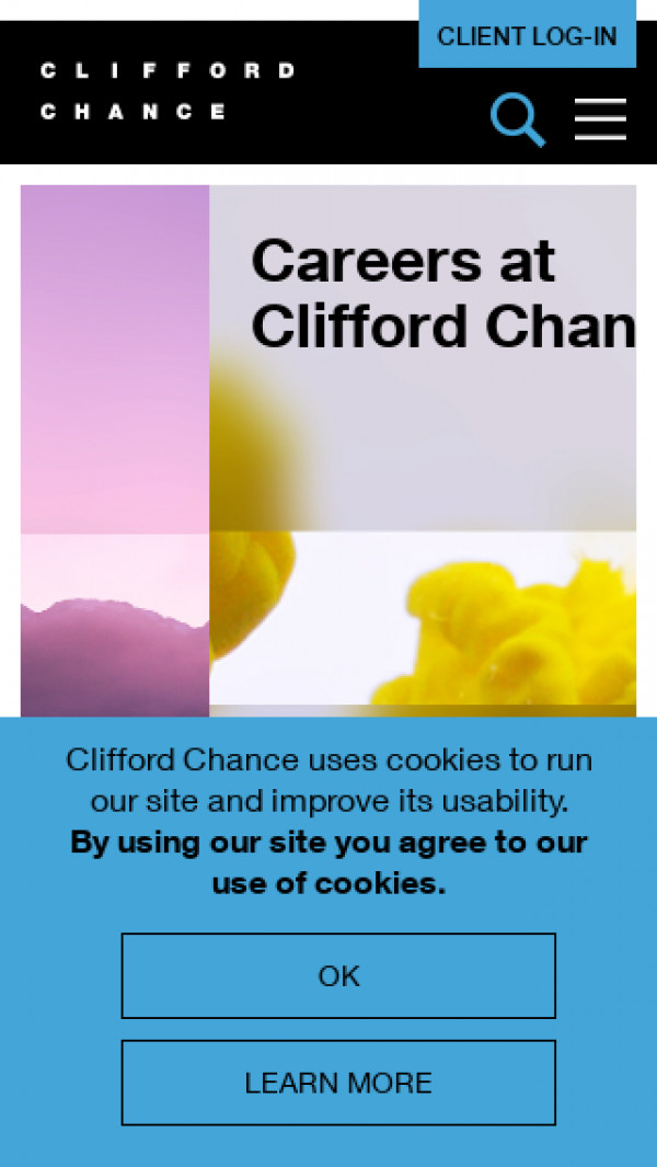 Mobile screenshot of Clifford Chance website