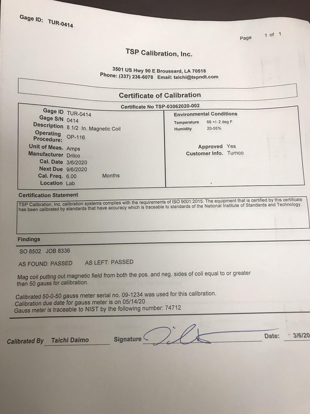 Turnco Asset Inspection Ticket - 100044367