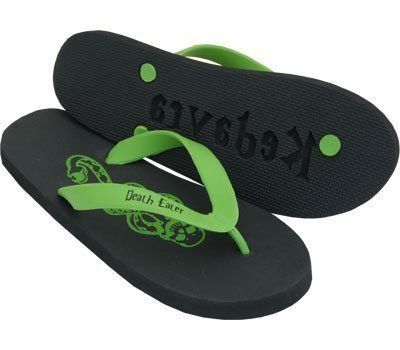 Green and Black Flip Flops