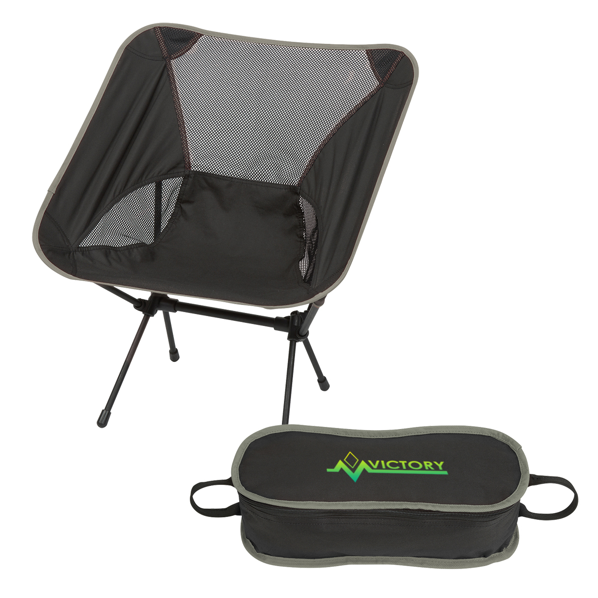 Victory Grey Folding Chair with Travel Bag