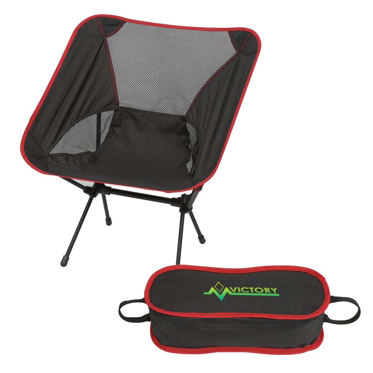 Victory Red Folding Chair with Travel Bag