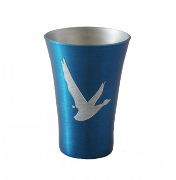 Engraved Blue Metal Shot Glass