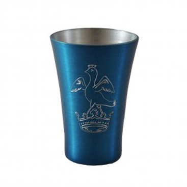 Engraved Metal Blue Shot Glass