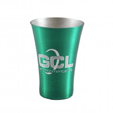 Engraved Metal Green Shot Glass