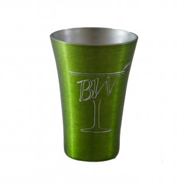 Engraved Metal Light Green Shot Glass