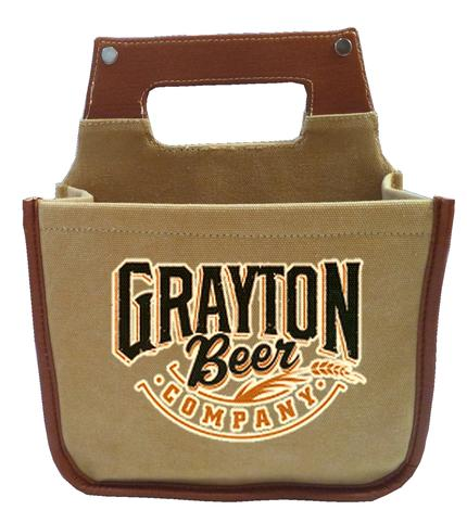 Leather/Canvas Beer Caddy Front View