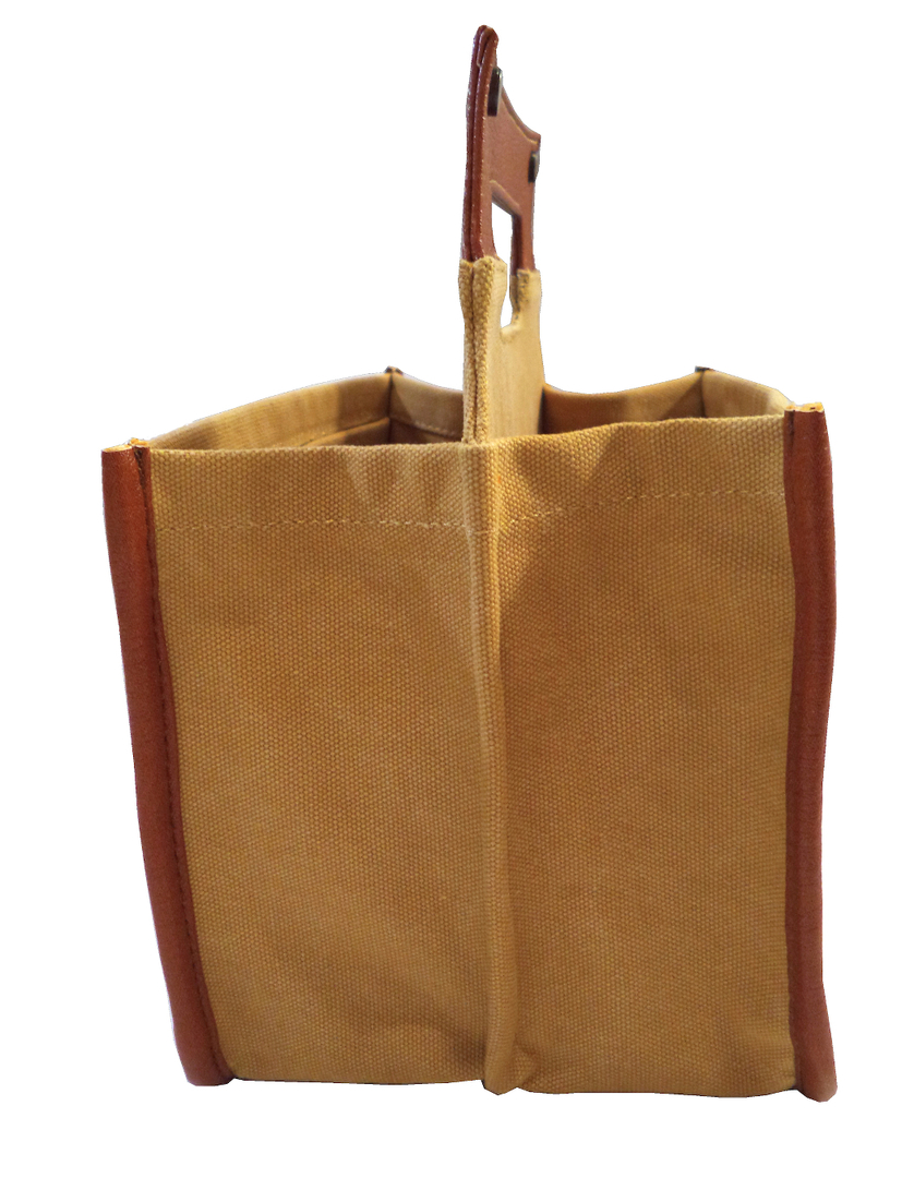Brown Leather/Canvas Beer Caddy