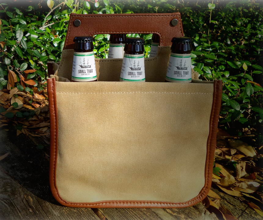 Brown Canvas/Leather Beer Caddy