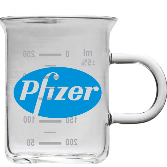 Pfizer Blue Glass Beaker Mug