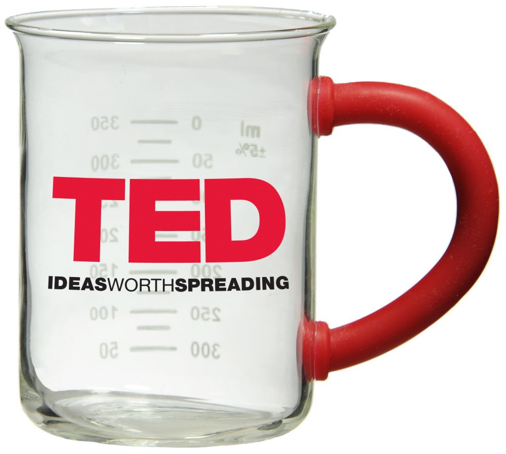 TED Red Glass Beaker Mug