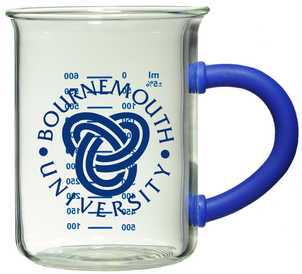Bournemouth University Glass Beaker Mug Blue