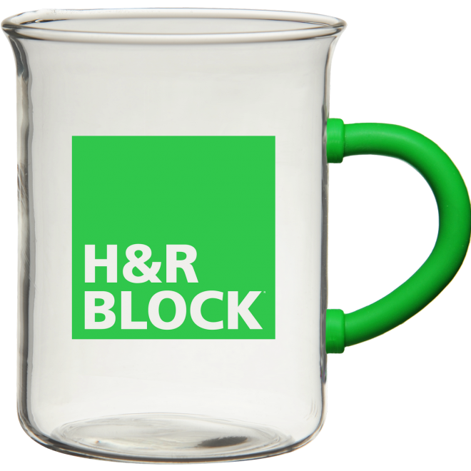 H&R Block Inspire Glass Beaker Mug Green