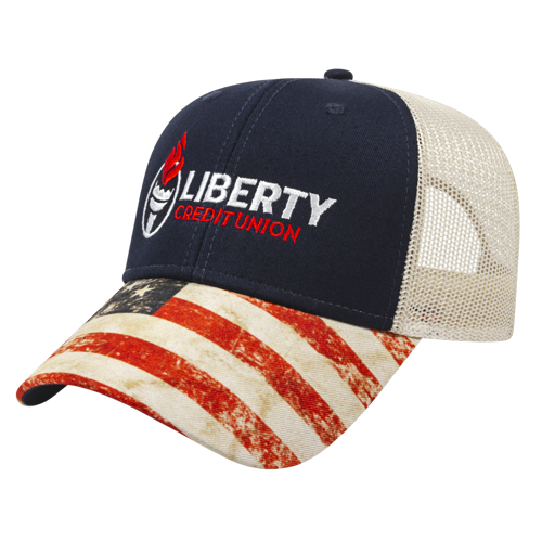 Sublimated Flag Visor Cap with Mesh Back Navy/White Front