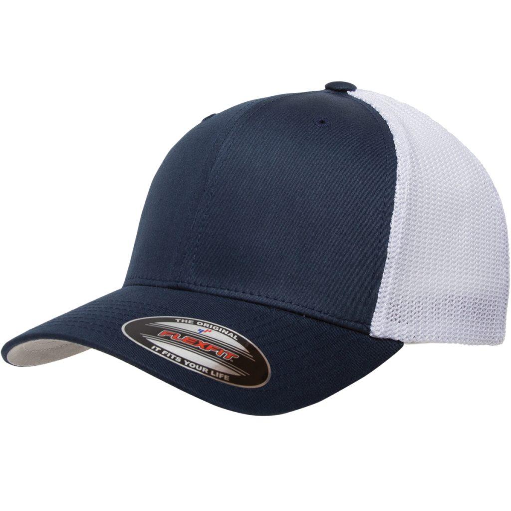 Mesh-Back Trucker Cap Navy/White