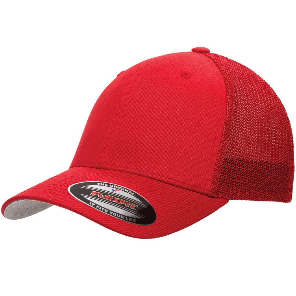 Mesh-Back Trucker Cap Red