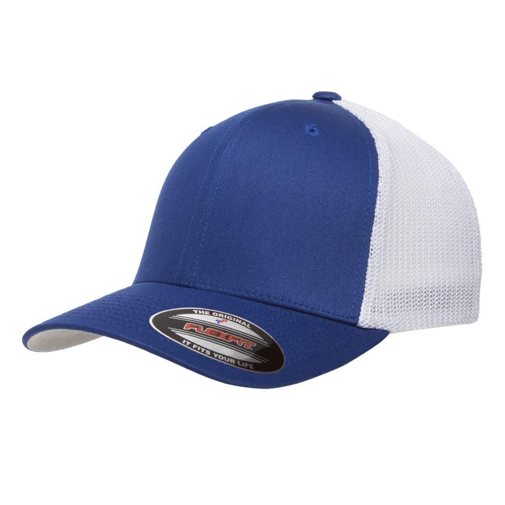 Mesh-Back Trucker Cap Blue/White