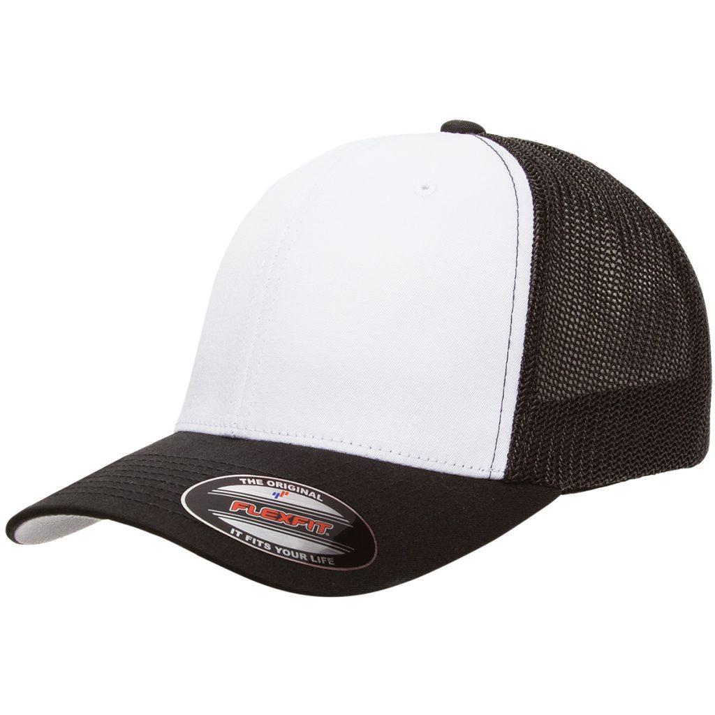 Mesh-Back Trucker Cap Black/White