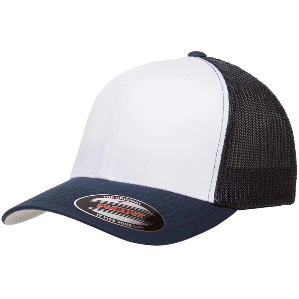 Mesh-Back Trucker Cap White/Navy