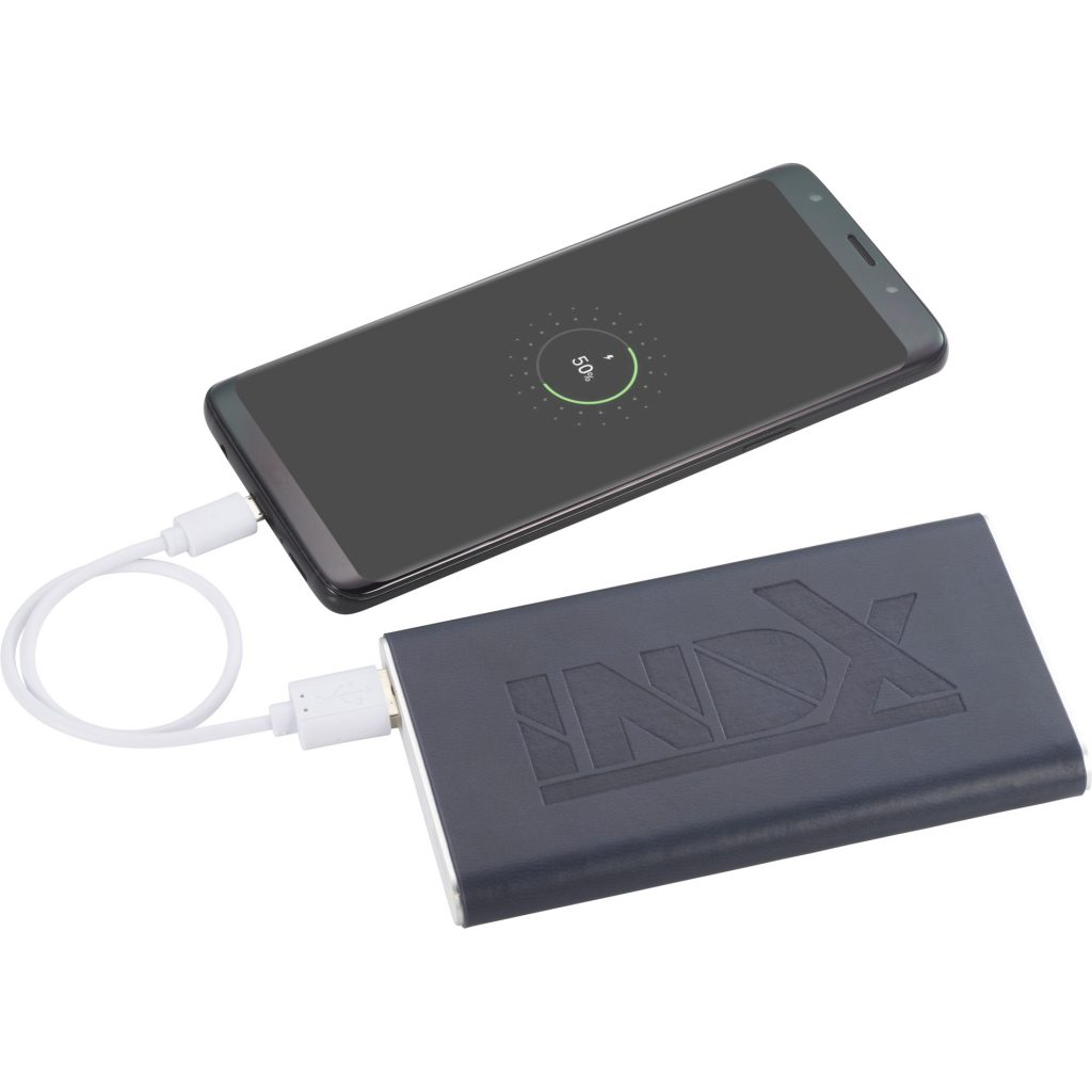 Rectangle Power Bank with Wrap Blue INDX In Use