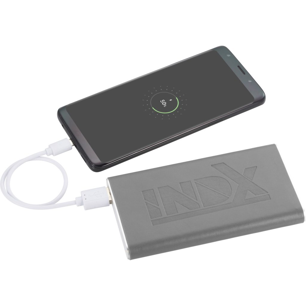 Rectangle Power Bank with Wrap Grey INDX In Use