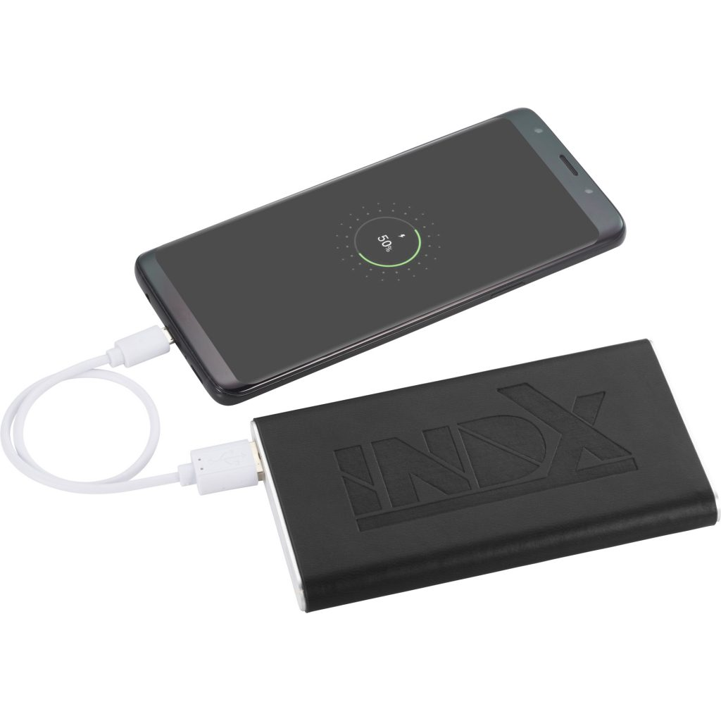 Rectangle Power Bank with Wrap Black INDX In Use