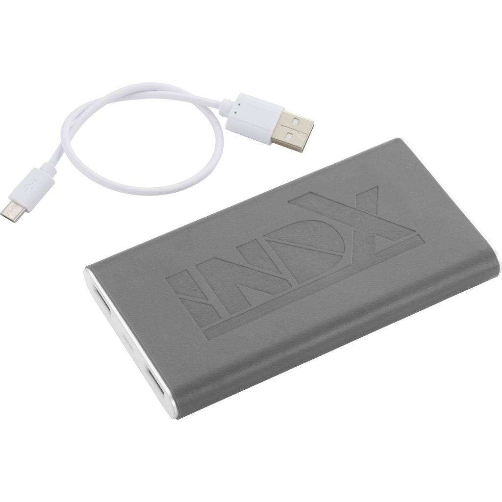 Rectangle Power Bank with Wrap INDX Grey Angle Left