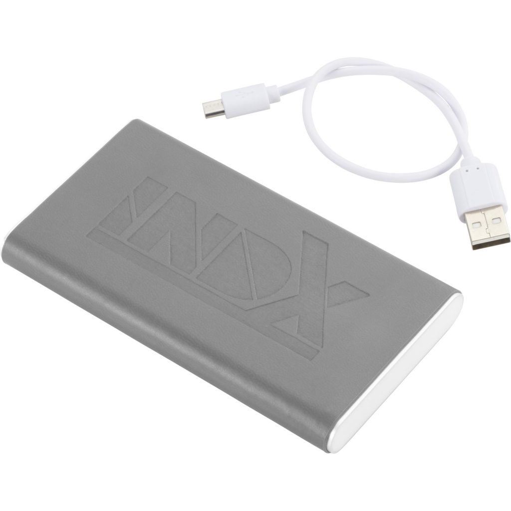 Rectangle Power Bank with Wrap Grey INDX Angle Right