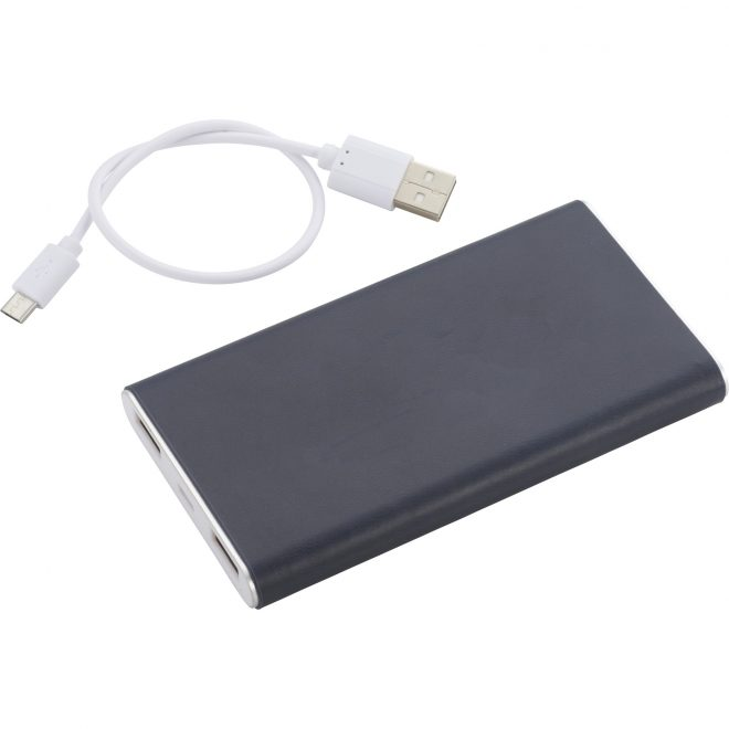 Rectangle Power Bank with Wrap Black Angle Left