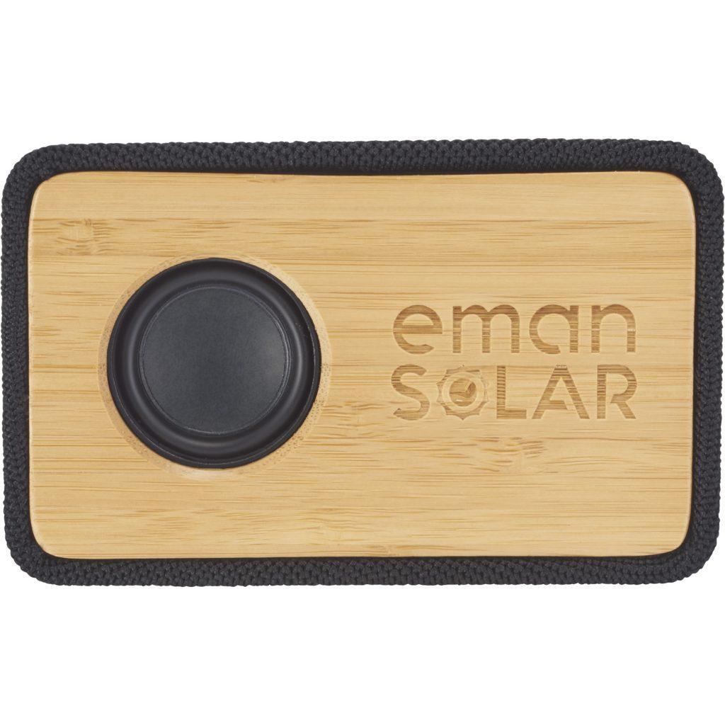 Bamboo Bluetooth Speaker Eman Solar Logo Front