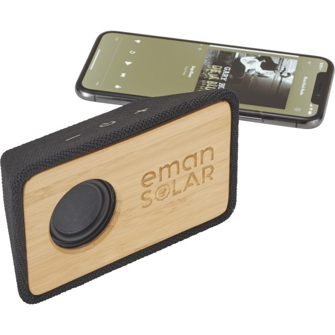 Bamboo Bluetooth Speaker Volume Details Eman Solar Logo Propped Up