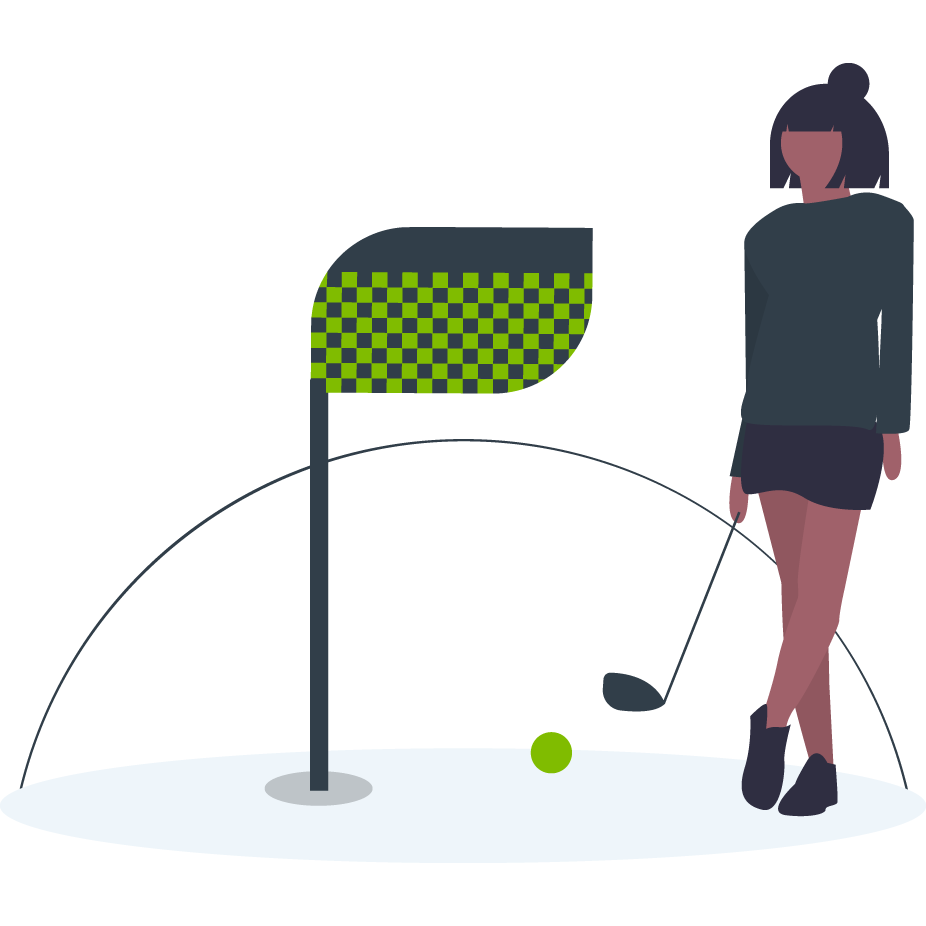 illustration of girl playing golf