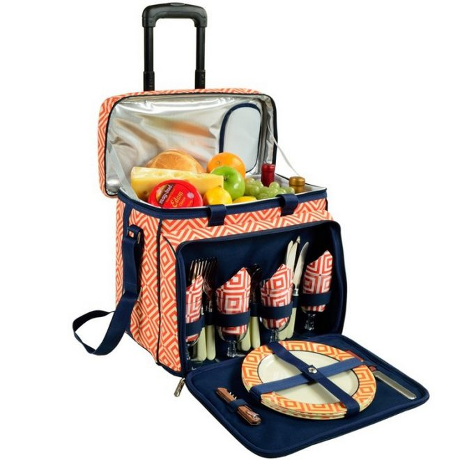Picnic-330-DO    Deluxe Picnic Cooler For Four On Wheels