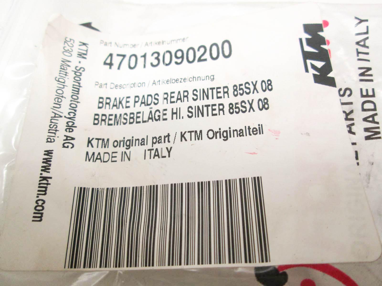 KTM 65 85 105 SX XC SXS REAR BRAKE PADS SINTER 47013090200 FORMULA