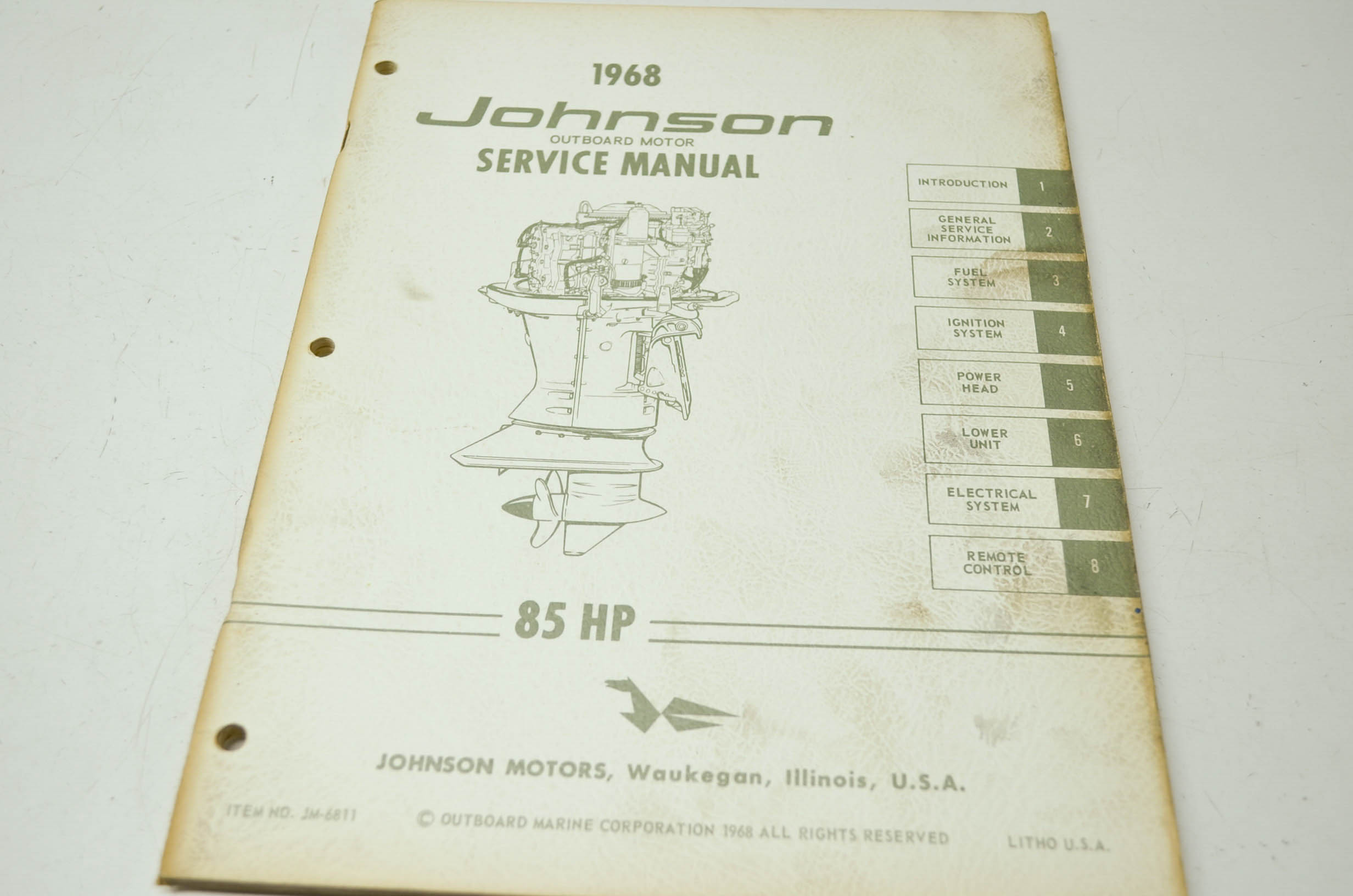 johnson 1968 outboard motor 85hp service manual ebay rh ebay com Antique Johnson Outboard Service Manual Johnson Outboard Identification Chart