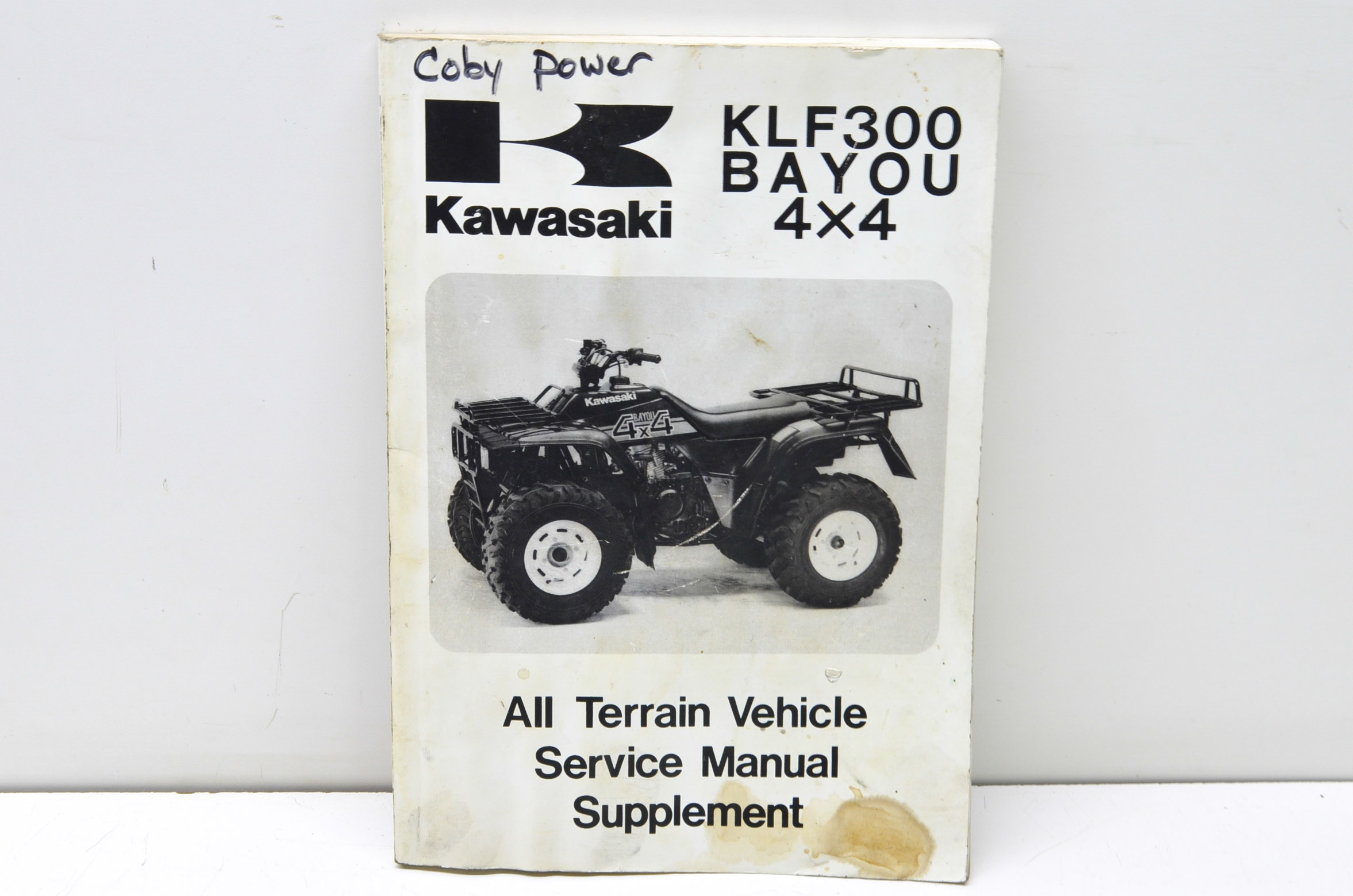 1989 Kawasaki KLF300 BAYOU 4X4 ATV Service Manual Supplement WORN STAINED DEAL