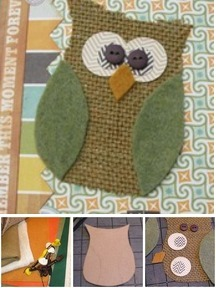 Burlap Owl Notebook